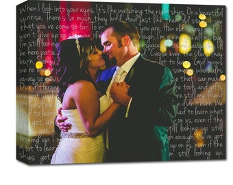 Word Art Canvas with Picture, Wedding Vows Art Words Behind Couple Text Photograph Vows and First Dance