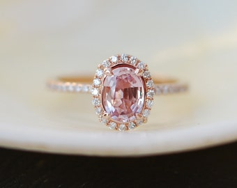 Peach Sapphire Ring, Peach Sapphire Engagement Ring, Peach Pink Sapphire Ring, Oval Cut Engagement Ring, 14k Rose Gold