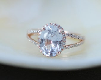 Oval split shank white sapphire diamond ring 14k rose gold