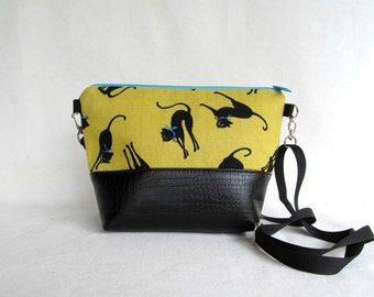 Black Cat Cross Body Bag // Pussy Cat Purse // Canvas and Faux Leather //  Vegan Handbag