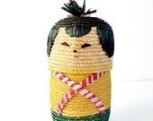 kokeshi doll basket raffia container cute storage or gift basket