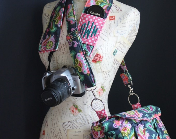New! MEDIUM size Digital Padded Camera Bag with Camera Strap Cover by Watermelon Wishes Amy Butler Fabric Pink Polka Dots