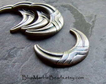 Crescent, Half Moon, Chevron, Tribal, Boho Chic, Lucite Cabochon, Metalized Lucite, Unique Cabochon, Flat Back, Antique Silver, 4 Pieces