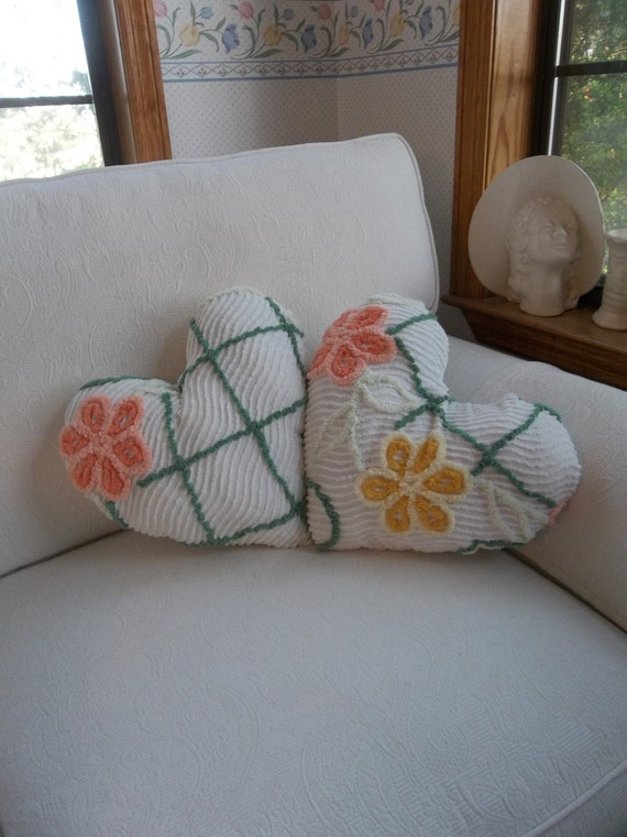 Vintage Chenille Pillow Heart Pillow Handmade Decorative Pillow Bedroom Pillow French Country Cottage Chic Sold Separately
