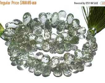 55% OFF SALE Full 7 Inches - 235 Carats Finest Quality Genuine Green Amethyst Faceted Tear Drop Briolettes Size 14 - 11mm Approx