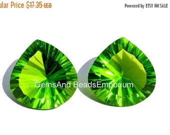 55% OFF SALE 2Pcs 1 Match Pair AAA Peridot Quartz Concave Cut Heart Briolette Size 15x15mm Concave Cut Gems (Choose The Drill Hole)