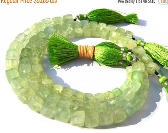 55% OFF SALE 8 Inches - Prehnite Faceted 3D Cubes Briolette Size 6 - 7mm, Natural Stone Finest Quality Wholesale Price