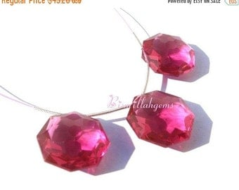 50% Off Valentine day 3 Piece Set of AAA Pomegranate Pink Quartz Faceted Star Briolette 16  - 20mm approx