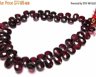 50% Off Valentine day 8 Inches -Finest Red Garnet Faceted Pear Briolettes Size 7x5mm approx - Nice Quality, Beautiful Shade And Great price