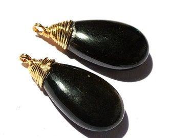50% Off Valentine day 2Pcs 22kt Gold Vermeil Wire Wrapped AAA Gold Sheen Obsidian Smooth Pear Briolette 24x11mm Wire Wrapped Dangles, Charm,