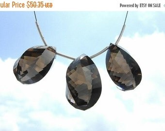 50% Off Valentine day 3Pc set of AAA Smoky Quartz Faceted Spiral Briolettes Large 22x14 - 24x15mm High Quality Great Price