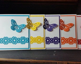 Set of 5 Thank You Cards, Thank You, Handmade Paper Greeting Cards, Stamped Cards, Handmade Cards, Hostess Gift, Cards, Greeting Cards