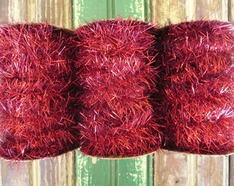Vintage Style Tinsel Garland Ribbon in Red - 25 feet