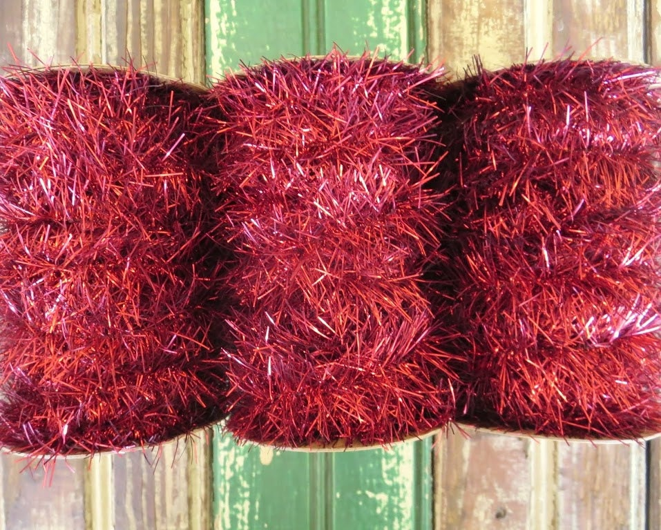 Sale vintage style tinsel garland ribbon in red feet