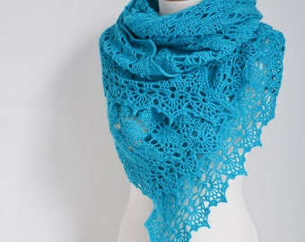 Crochet lace shawl, Turquoise, blue, N408