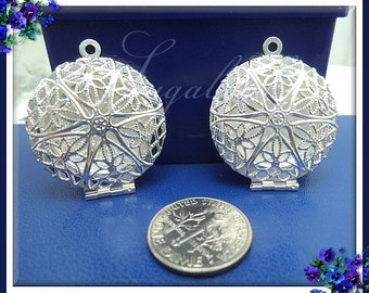 2 Round Silver Plated Filigree Lockets 32mm PS191