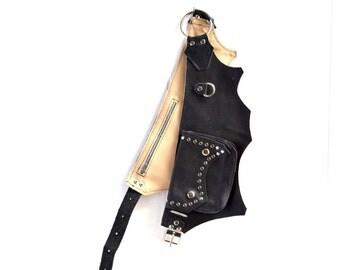 Black leather Pocket belt, rocker style belt, metal hardware fanny pack, Large pocket belt