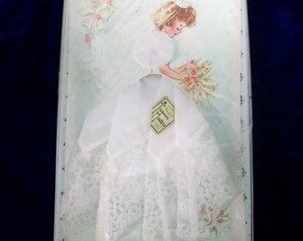 Vintage 50s 60s Paper Doll Wedding Dress Handkerchief . NOS Bride Hankie Doll . Bridal Gift Hankie