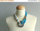 Blue white silver statement necklace nautical