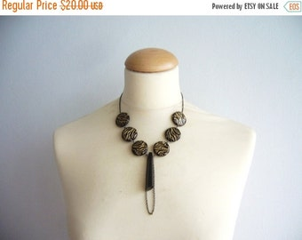 SALE! Black necklace with gold and a big crystal
