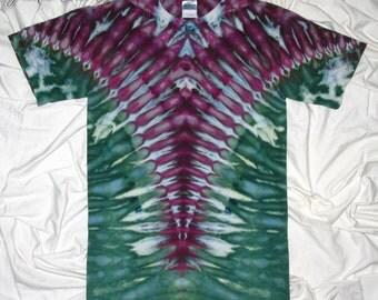 tie dye shirt, small ice dye, tiedye tshirt by grateful dan dyes, trippy v design, arrow back ice dye
