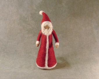 Needle Felted Wool Santa Ornament- Christmas Decoration - Waldorf Inspired - Red Suit