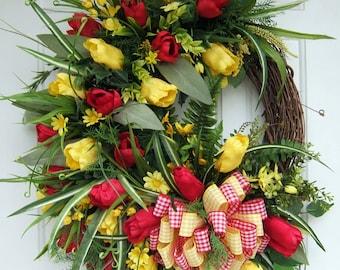 Sale, Large Spring wreath,  Summer, Handmade wreath, floral wreath, Door wreath, Tulip wreath, red yellow wreath, floral wreath