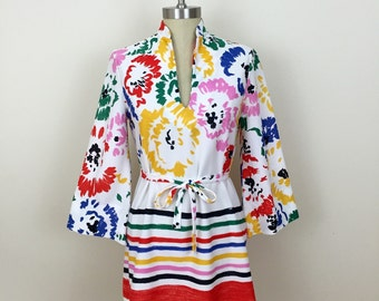70s Lady Arrow White Primary Colors Floral Striped Belted Tunic with Bell Sleeves, Size Medium to Large