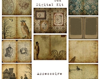 Digital Vintage Journal Page Kit - Peculiarly Odd - Perfect for journals, cards, mixed media, scrapbooking (10 digital pages)