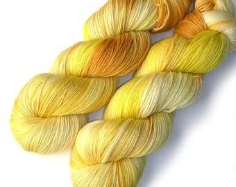 Sock Yarn Handdyed Merino Cashmere Nylon Yarn - Sunflower, 430 yards