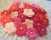 Crochet Double Layered Flowers in Bulk set of 25 in Rosey Cheeks color