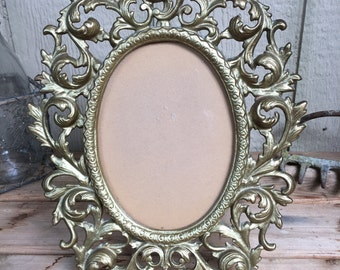Ornate Vintage Wilton Cast Brass Rococo Style Frame with Glass & Backing