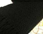 solid black cotton: handwoven waffle weave scarf