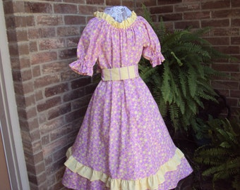 Prairie Party Dress and bonnet--pink with lavender and yellow dots, pioneer dress, girls 12 Civil War dress, girls size 12