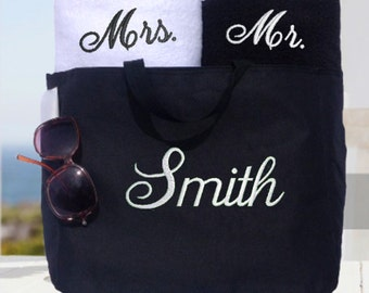 Couples Towel and Tote Gift Set!  Wedding Gift, Bridal Shower, His and Hers Towel and Tote Set!