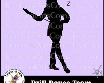 Drill Dance Team Silhouettes Pose 2 - 1 eps & svg Vinyl Ready files and 1 png digital file and commercial license