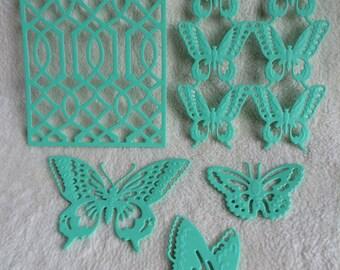 Butterflies and Trellis Die Cuts...5 Piece Set of Very Lovely Butterflies and Trellis Embossed Die Cuts Scrapbook Embellishment Set