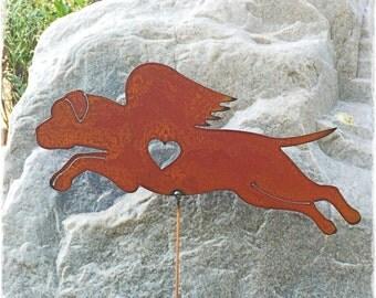 Rusty Finish Metal Garden Art Bull Mastiff English Dog Angel Memorial Yard Stake