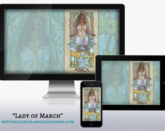 Lady of March Art Nouveau Aquamarine and Daffodil Birthstones Birth Flowers Wallpapers for Desktop, Phone, and Tablet