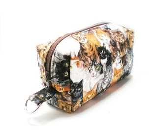 February Pouch Sale Small Zipper Box Pouch Project or Travel Case Brown Cat Faces