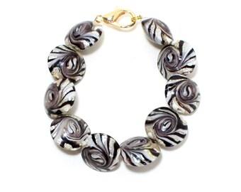 Hipster multi colour lamp work glass beaded bracelet