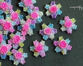 6pc vintage hand painted flower cluster cabochons / vintage flower cabs from Japan / new old stock flower cabochons