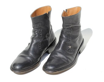 Vintage Italian Men's Leather Boots / Black Leather Ankle Boots / Side zipper Boots / size 8.5