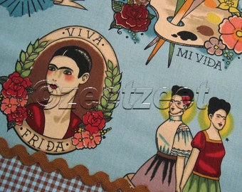 TODO PARA TI Blue Tattoo Spanish Latino Espagnol Frida Kahlo Alexander Henry Cotton Quilt Fabric by the Yard, Half Yard, or Fat Quarter Fq