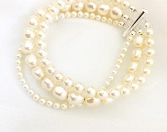 Multi-Strand Pearl Bracelet with round and nugget Swarovski Pearls, 3 strand locking clasp, multi strand wedding bracelet cuff style MILLAY
