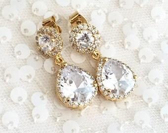 Gold Bridal Earrings CZ Cubic Zirconia Wedding earrings, Clear Teardrop, yellow Gold