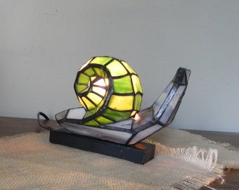 Vintage snail night light colored glass lamp