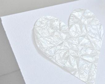 Gem Embossed Pearl White Love Heart Gift Card Valentine Wedding Engagement Valentine
