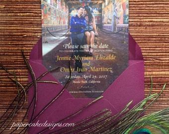 Wedding Save the Date Engagement Photo Card / Posctard / Custom Design