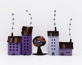 House Ornaments, Four lilac buildings of felt with tree, Miniature urban decoration, House Decor